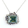 12.70 Ct Huge Blue Diamond Pendant with Diamond Accents, 100% Certified - ZeeDiamonds