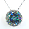 14.46 Ct Deep Blue Diamond Pendant with Diamond Accents, 100% Certified - ZeeDiamonds