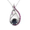 1.50 Ct Certified Black Diamond Swan Pendant with Ruby & White stones Accents