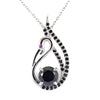 1.50 Ct Black Diamond Swan Pendant with Black Diamond Accents