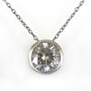2.05 Ct Certified Round Off-White Diamond Pendant in Black Gold - ZeeDiamonds