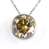 5.80 Ct AAA Certified Elegant Champagne Diamond Solitaire Pendant. - ZeeDiamonds