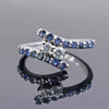 0.25 Ct Certified Off-White Diamond Ring with Sapphire Gemstone Accents