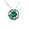 3.65 Ct Greenish Blue Diamond Pendant with Accents, 100% Certified - ZeeDiamonds