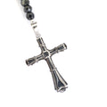 7 mm Black Diamonds Necklace For Men with Holy Cross pendent.