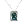 12.37 Ct Blue Diamond Pendant with White diamonds, 100% Certified - ZeeDiamonds