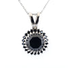 AAA Certified Round Cut Black Diamond Pendant with Accents - ZeeDiamonds