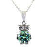4 Certified Gorgeous Blue Diamond Owl Pendant with Diamond Accents