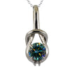 3.8 Ct AAA Certified Blue Diamond Solitaire Pendant, Great Sparkle