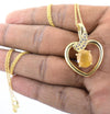 4.5 Cts Pukhraj Gemstone Heart Shape Pendant in Panchdhatu, Astrological Pendant - ZeeDiamonds