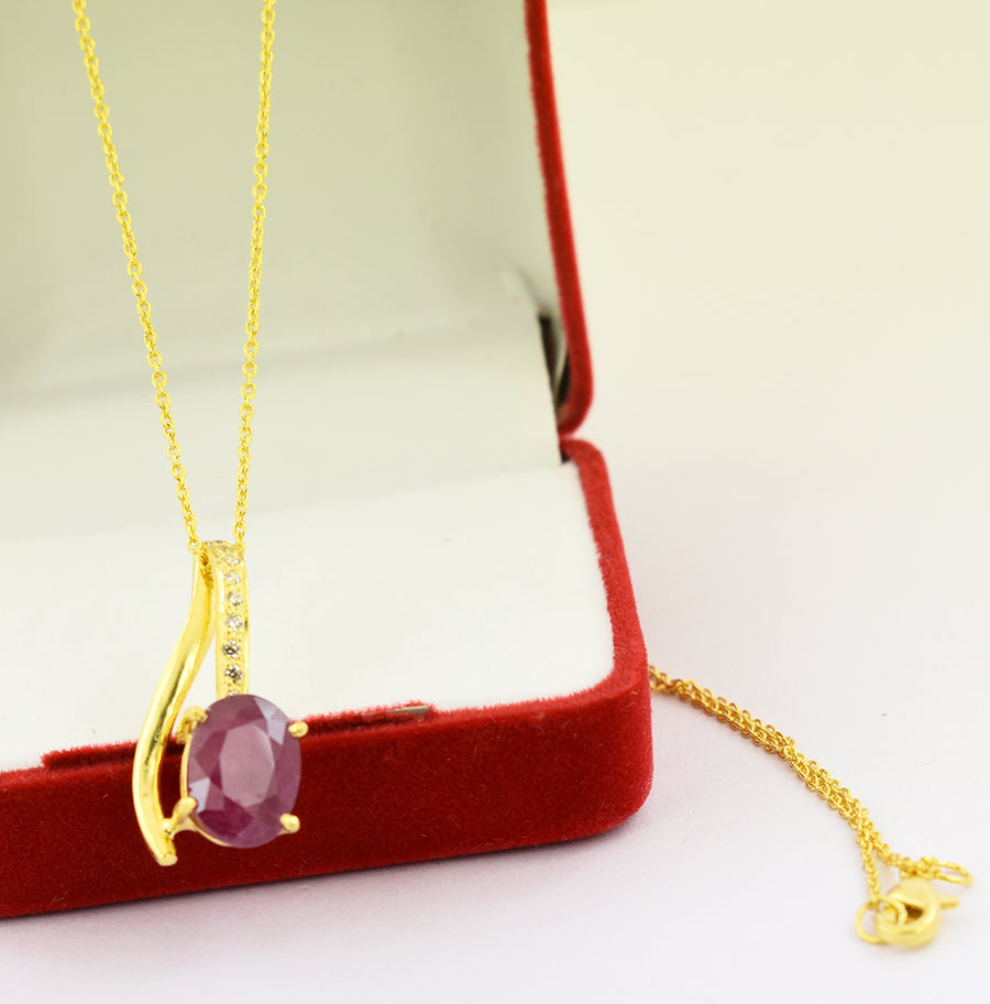 6.79 Cts Ruby Gemstone Oval Shape Pendant in Panchdhatu, Astrological Pendant - ZeeDiamonds