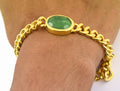 12 Ct Emerald Stone Men Bracelet in Ashtadhatu Metal - ZeeDiamonds