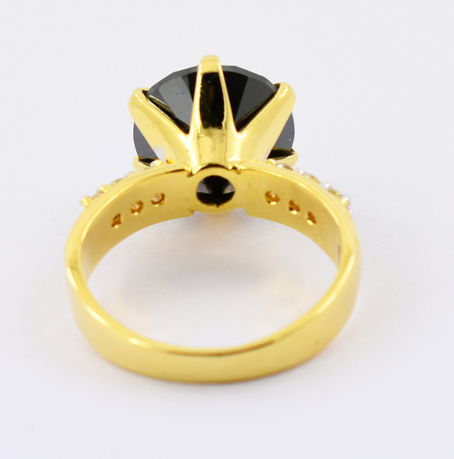 4 Cts Round Shape Black Diamond Ring with White Diamonds Accents, Great Design - ZeeDiamonds