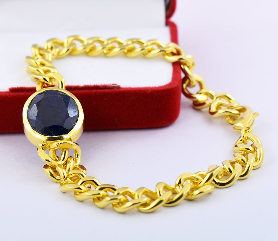 11 Ct Oval Faceted Blue Sapphire Bracelet  In Yellow Gold For Men's - ZeeDiamonds