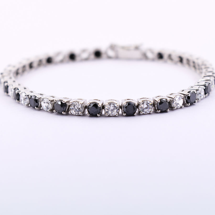 11.4 Cts Black Diamond Beads & Zircon Diamond Beautiful Bracelet For Unisex - ZeeDiamonds
