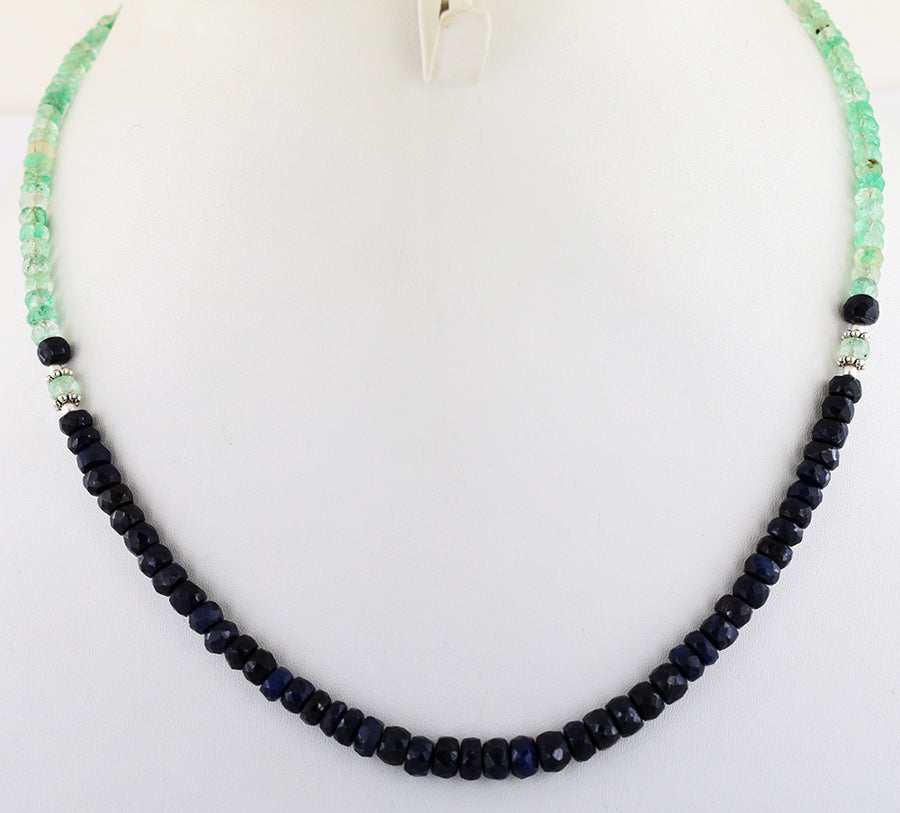 4-5 mm Blue Sapphire & Emerald Gemstone Beads Necklace In 925 Silver Clasp - ZeeDiamonds