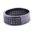 Pave Setting Black Diamond Men's Band Ring in Sterling Silver
