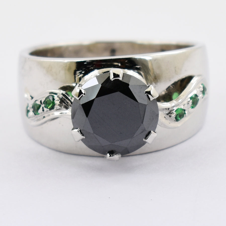 2-4 Ct Round Brilliant Cut Black Diamond Solitaire Ring With Emerald Accents - ZeeDiamonds