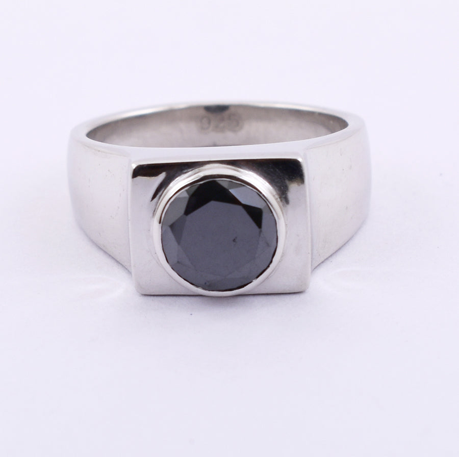 1.5 Ct Certified Round Cut Black Diamond Ring in Silver - ZeeDiamonds
