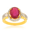 Ruby Gemstone Engagment Ring With White Diamond Accents - ZeeDiamonds