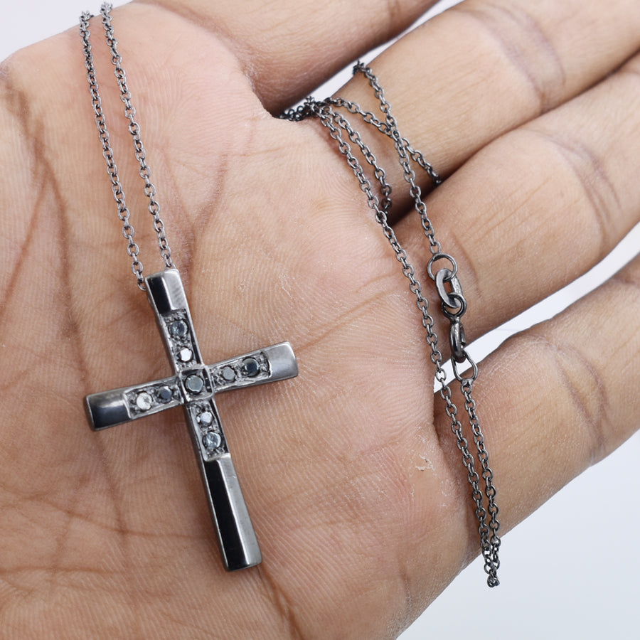 70 Cent Black Diamond Solitaire Cross Pendant