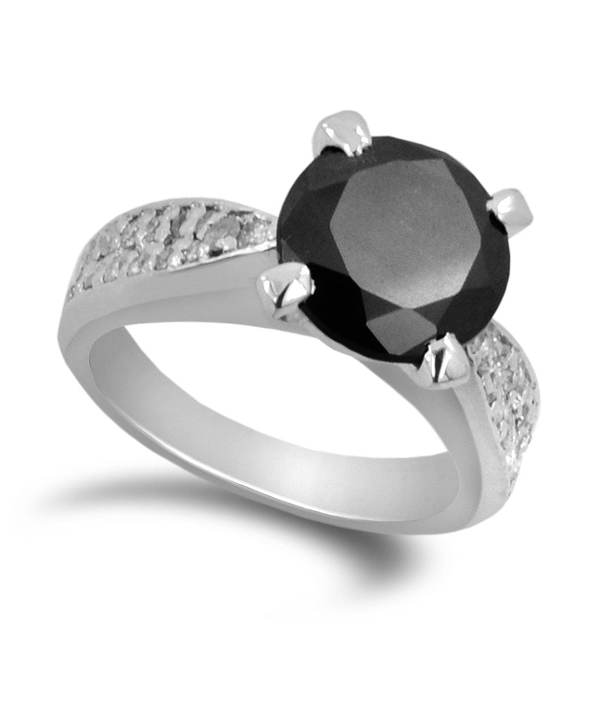 1.50 Ct AAA Quality Black Diamond Solitaire Ring with Diamond Accents, Great Luster - ZeeDiamonds