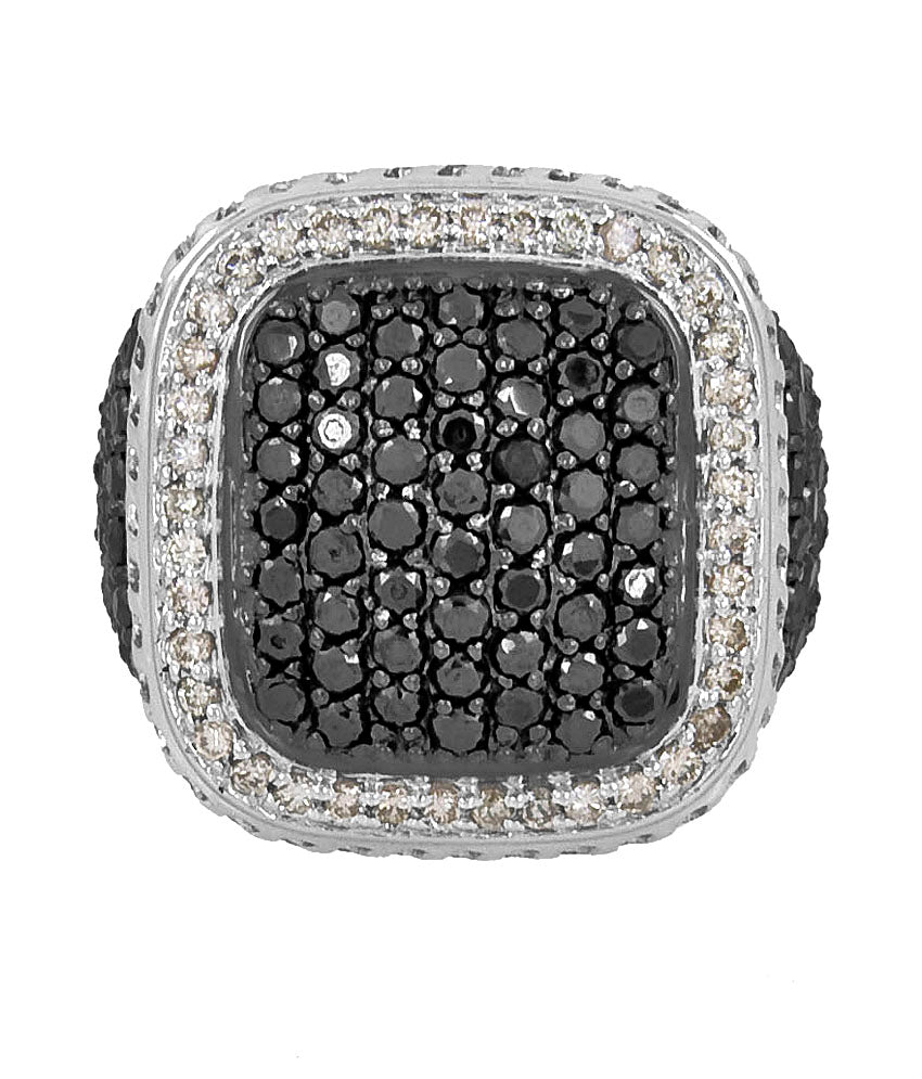 0.10 Ct Each Certified Black Diamonds Men's Ring , Heavy Wedding Collection - ZeeDiamonds