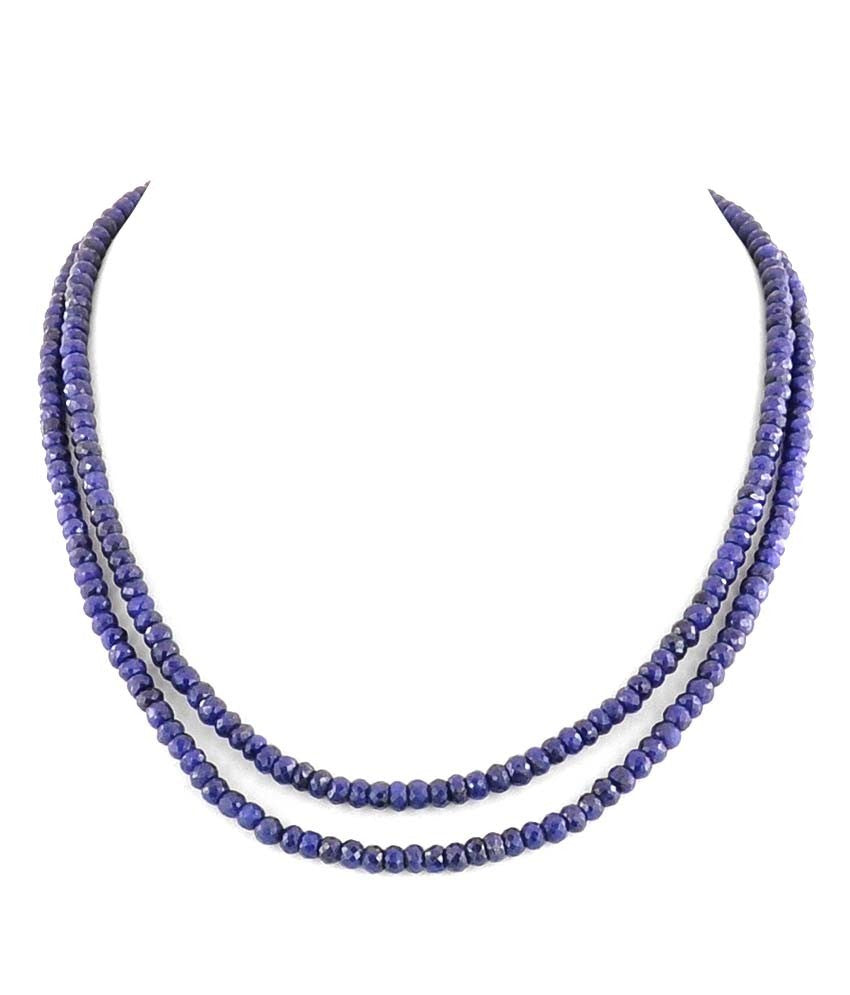 Two Row 3-4 mm Blue Sapphire Necklace with Silver Clasp - ZeeDiamonds