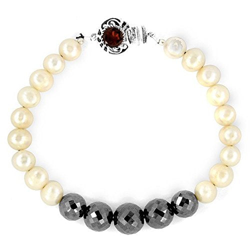5 - 6 mm Handmade Black Diamonds Bracelet with Pearls.Certified - ZeeDiamonds