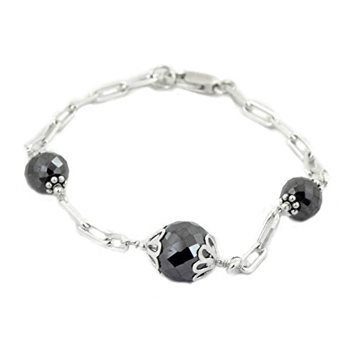 Designer 6mm-10mm Faceted Black Diamond Chain Bracelet in Silver.AAA