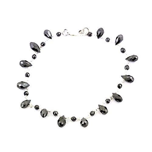 4 mm Black Diamond Beads Sterling Silver Wire Style Bracelet - ZeeDiamonds