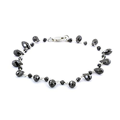 4 mm  Black Diamond Beads Briolite Bracelet In Sterling Silver Wire - ZeeDiamonds
