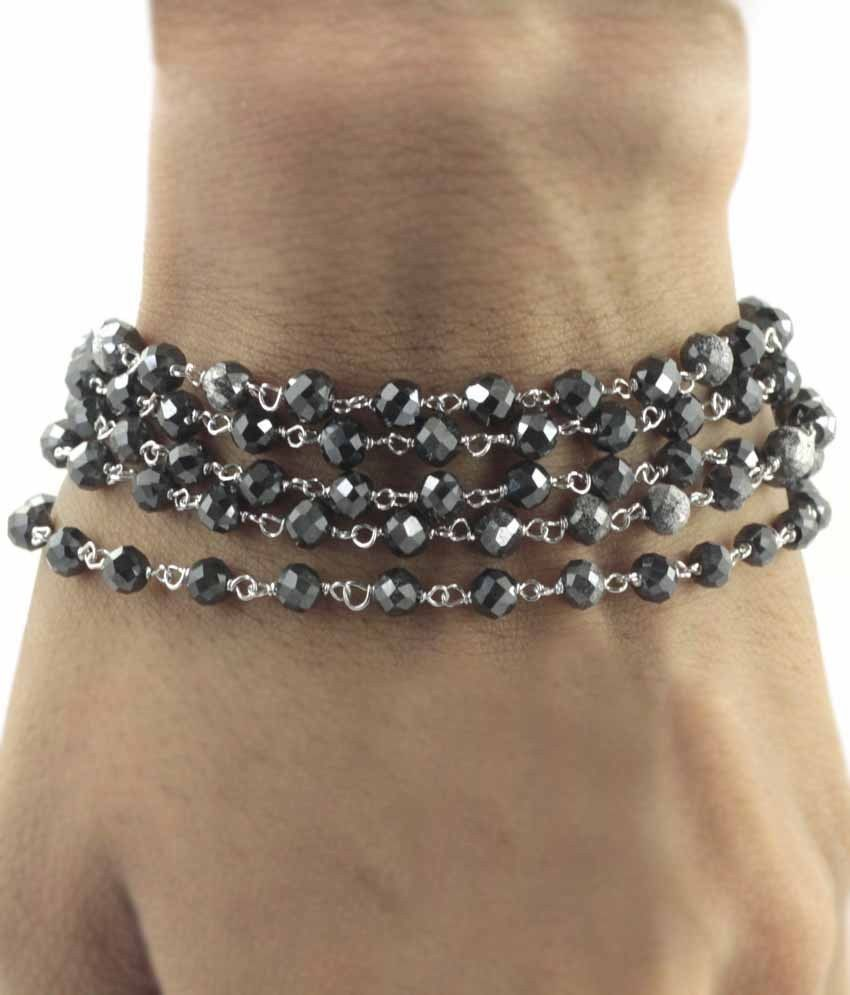 3 mm 65 Carat Black Diamond Beads Silver ware Bracelet In 36 Inches - ZeeDiamonds