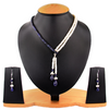 2 Row 3-4 mm Pearl And Blue Sapphire Necklace - ZeeDiamonds