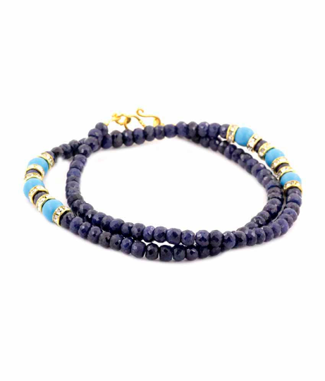 4-5 mm Faceted Blue Sapphire Necklace with Turquoise Beads - ZeeDiamonds