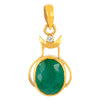 5.25 Ratti Oval Shape certified Emerald Panch dhatu Pendant with Certifcate - ZeeDiamonds