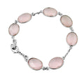 100% Certified Rose Quartz Gemstone Sterling Silver Chain Bracelet - ZeeDiamonds