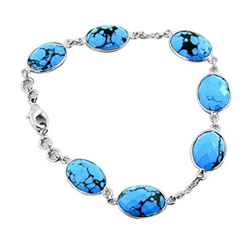 Handcrafted Turquoise Gemstone Link Bracelet in Silver