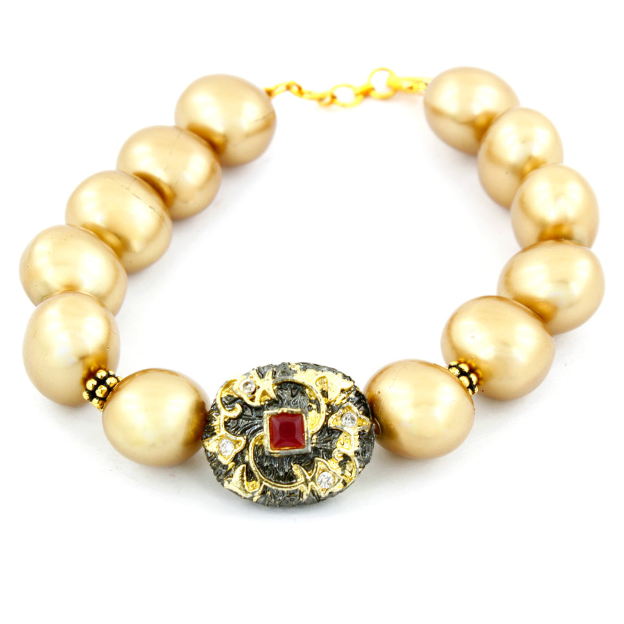Golden Shell Pearl Bracelet With Designer Vintage Bead - ZeeDiamonds
