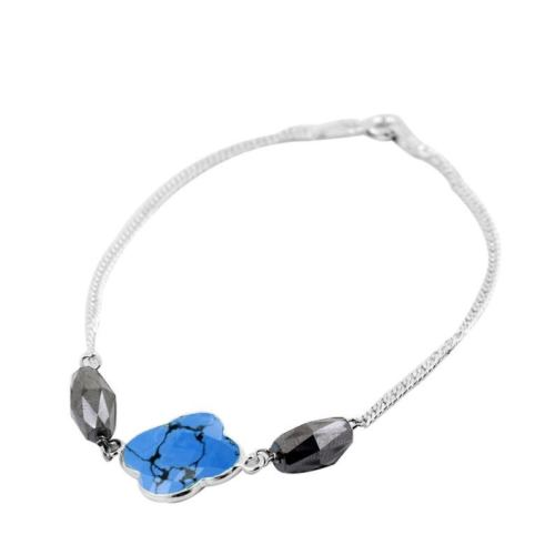 8 Carat Black Diamond with Blue Chalcedony Bead Bracelet in Sterling Silver - ZeeDiamonds
