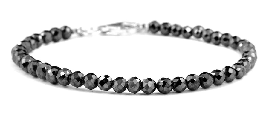 Black Diamonds Bracelet-20 carats. 3-3.5 mm Faceted Diamond AAA.Silver