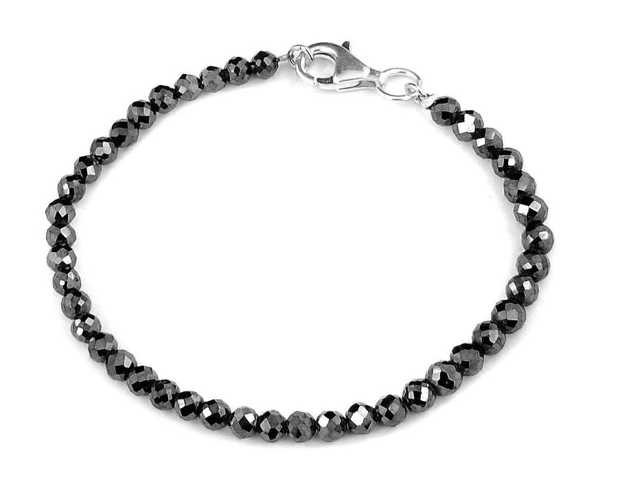 Black Diamonds Bracelet-20 carats. 3-3.5 mm Faceted Diamond AAA.Silver - ZeeDiamonds