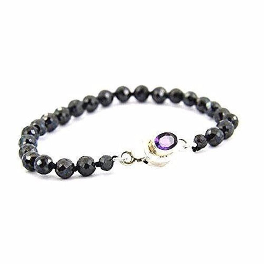 Elegant Black Diamond Bracelet With Amethyst Clasp.AAA.4 mm.Certified - ZeeDiamonds