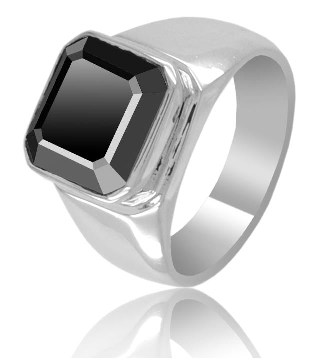 3-5 Ct Asscher Cut Black Diamond Solitaire Men's Ring - ZeeDiamonds