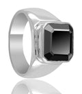 3.50 Ct Certified Black Diamond Solitaire Men's Ring in 925 Silver, Excellent Cut - ZeeDiamonds