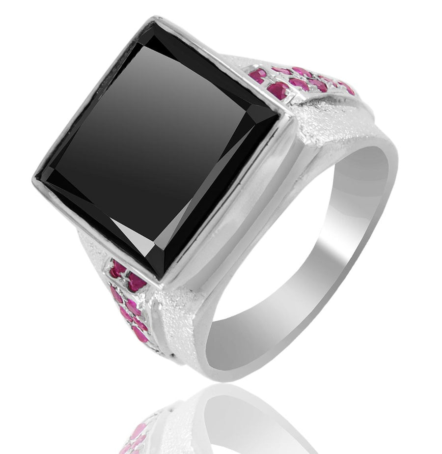 Princess Cut Black Diamond Solitaire Men's Ring With Ruby Accents