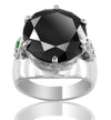 5 Ct AAA Certified, Black Diamond Ring with Emerald Accents- Designer Collection - ZeeDiamonds