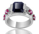 Black Diamond Solitaire Ring with Ruby Accents, Sapphire & Emeralds