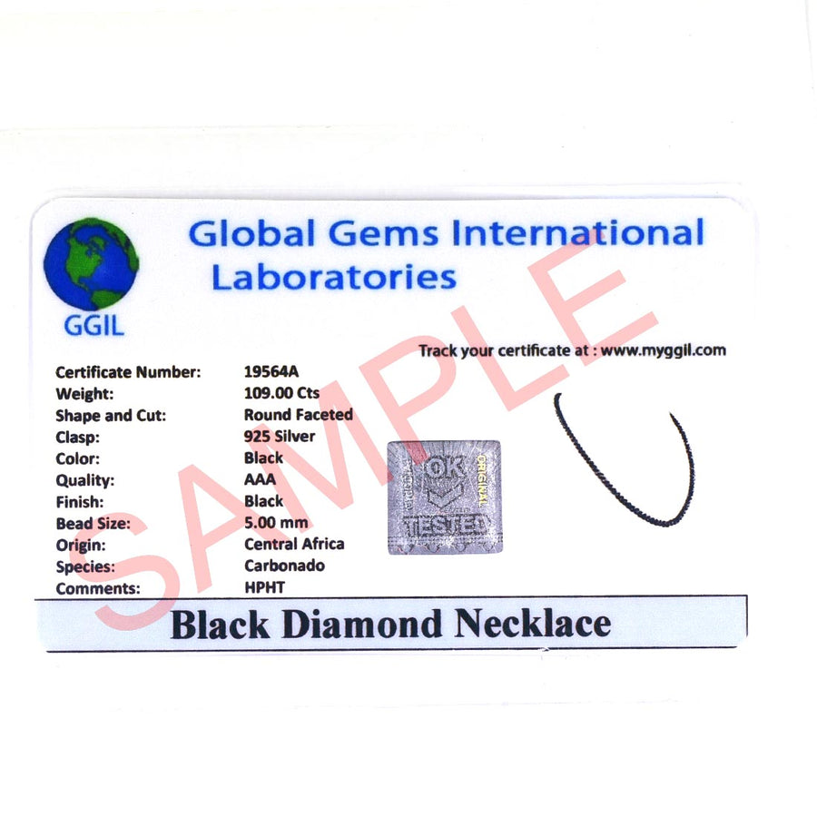 4 mm AAA Certified Black Diamond Necklace with Blue Sapphire Clasp - ZeeDiamonds