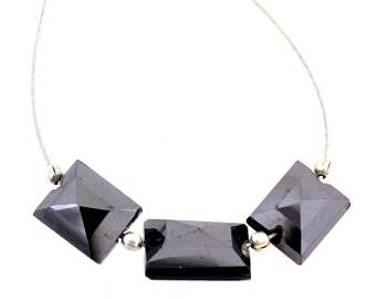 Black Diamond Loose Beads-9.90 carats Rectangular Shape Certified.3 Pc